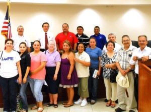Alton LUPE members pose with City Council after passing resolution against SB1070