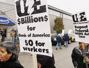 Union workers protest the tax-payer funded bailout of Bank of America