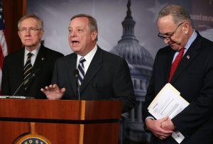 Democratic Senators Dick Durbin (c.) and Chuck Schumer (r.) are among a bipartisan group of legislators leading the comprehensive immigration reform negotiations. Photo: Mark Wilson/Getty Images